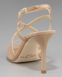 Jimmy Choo Natural Paxton Strappy Patent Sandal