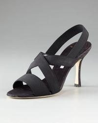 Manolo Blahnik Black Bimelac Elastic Cork-heel Sandal