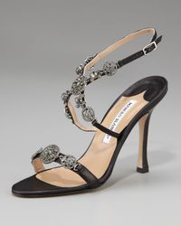 Manolo Blahnik Black Cross-front Jeweled Sandal