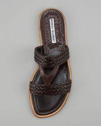 Manolo Blahnik Black V-strap Braided Flat Sandal