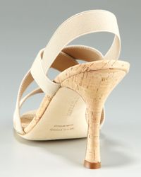 Manolo Blahnik Natural Bimelac Elastic Sandal with Cork Bottom