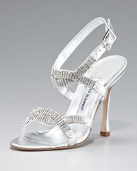 Manolo Blahnik - Metallic Crystal Ankle-strap Sandal - Lyst