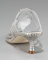Manolo Blahnik Metallic Jeweled Thong Sandal