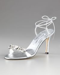 Manolo Blahnik | Metallic Prisca Crystal Tie-back Sandal | Lyst