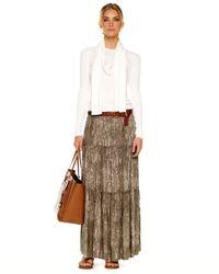 MICHAEL Michael Kors Brown Tiered Maxi Skirt Womens