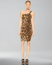 Michael Kors | Brown One-shoulder Dress, Leopard Print | Lyst