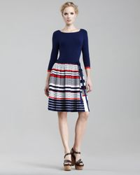 MILLY | Blue Calais Pleated-Skirt Dress | Lyst