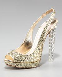 Miu Miu | Metallic Jewel-heel Glitter Pump | Lyst