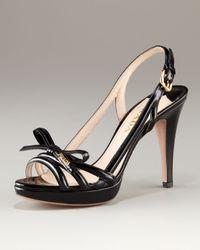 Prada Black Platform Patent Multi Strap Sandal with Bow