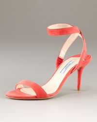 Prada Orange Coral Suede Sandal with Ankle Band