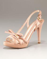 Prada Natural Platform Patent Multi Strap Sandal with Bow