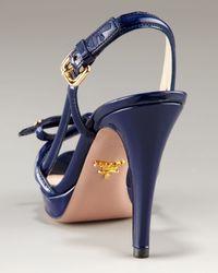 Prada Blue Platform Patent Multi Strap Sandal with Bow