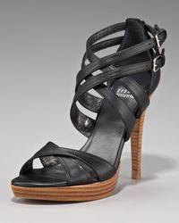 Stuart Weitzman Black Strappy Crisscross Sandal