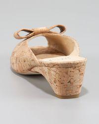 Stuart Weitzman Natural Cork Bow-toe Mule