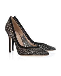 Valentino Black Crystalembellished Suede and Mesh Pumps
