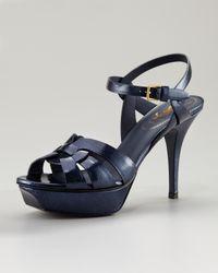 Saint Laurent Blue Tribute T-strap Platform Sandal