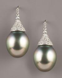 Assael | Black Diamond-topped Tahitian Earrings | Lyst