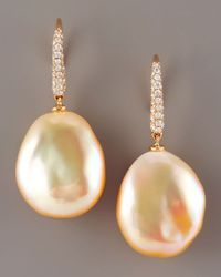 Assael Orange Diamond & Pearl Earrings, Peach