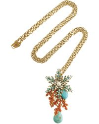 Bijoux Heart | Metallic 24karat Goldplated Swarovski Crystal Necklace | Lyst