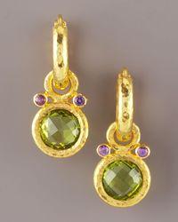 Elizabeth Locke | Metallic Peridot & Amethyst Earring Charms | Lyst