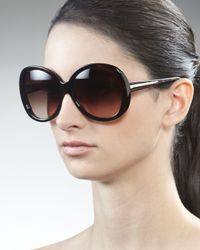 Givenchy - Brown Rounded Resin Sunglasses, Dark Havana - Lyst