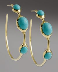 Ippolita | Blue Turquoise 3-stone Hoop Earrings | Lyst