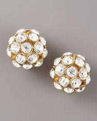 kate spade new york - Metallic Round Crystal Clip Earrings - Lyst
