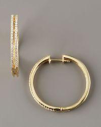 KC Designs Metallic Diamond Hoop Earrings, 14k Yellow Gold