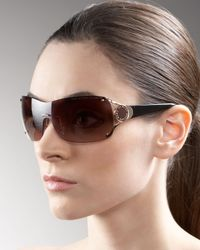 Marc By Marc Jacobs | Metallic Logo-temple Shield Sunglasses | Lyst
