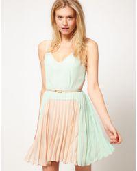 Oasis Blue Oasis Colour Block Pleat Dress