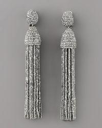 Oscar de la Renta Metallic Long Beaded Tassel Earrings