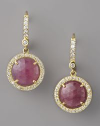 Penny Preville - Brown Pink Sapphire Diamond Drop Earrings - Lyst