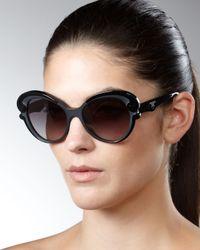 Prada - Cat-eye Sunglasses, Black - Lyst