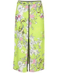 TOPSHOP Green Acid Floral Slip Skirt