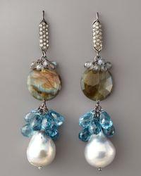 Wendy Brigode | Blue Diamond & Multi-stone Drop Earrings | Lyst
