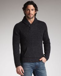 7 For All Mankind | Black Shawl-collar Sweater for Men | Lyst