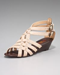 7 For All Mankind | Natural Nelle Low-wedge Nubuck Sandal | Lyst