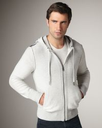 Burberry Brit   Check-shoulder Zip Hoodie, Pale Gray Melange for Men   Lyst