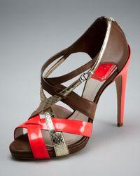 Dior | Brown Ibiza Neon-trim Sandal | Lyst