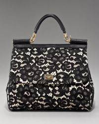 Dolce & Gabbana | Black Miss Sicily Lace Handbag | Lyst
