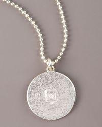 Dominique Cohen | Metallic Square Diamond Solitaire Pave Disc Necklace | Lyst