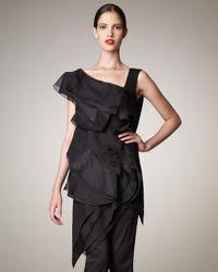 Donna Karan | Black Tiered Asymmetric Tunic | Lyst