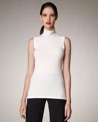 Donna Karan | White Sleeveless Mock-neck Top | Lyst