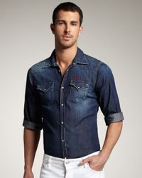 DSquared² | Blue Short-sleeve Denim Shirt for Men | Lyst