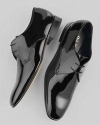 Ferragamo - Black Andrea Patent Lace-ups for Men - Lyst
