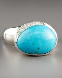 Ippolita Blue Scultura Pebble Ring with Diamonds, Turquoise