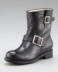 Jimmy Choo   Black Elle Buckle Leather Biker Boot   Lyst