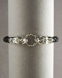 John Hardy Black Legends Naga Dragon Leather Bracelet for men
