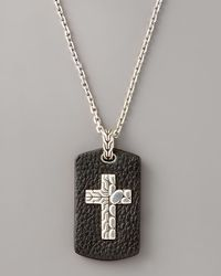 John Hardy | Black Leather Tag Cross Necklace for Men | Lyst