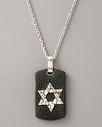 John Hardy | Black Leather Tag Star Of David Necklace for Men | Lyst